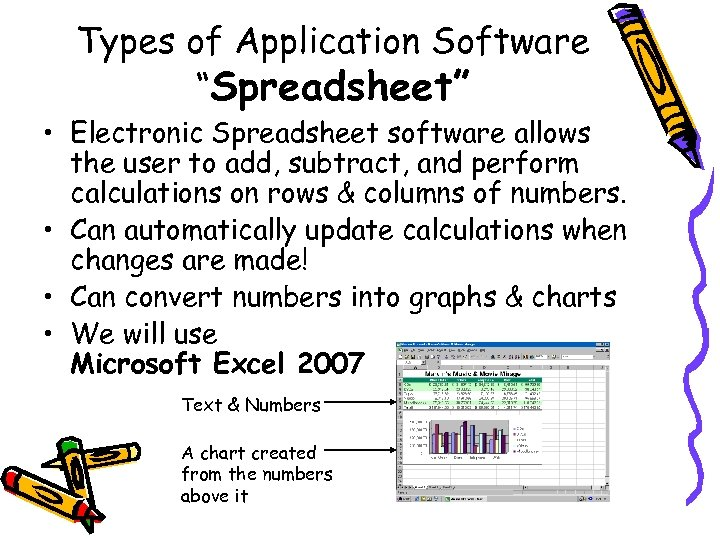 "Types of Application Software ""Spreadsheet"" • Electronic Spreadsheet software allows the user to add,"