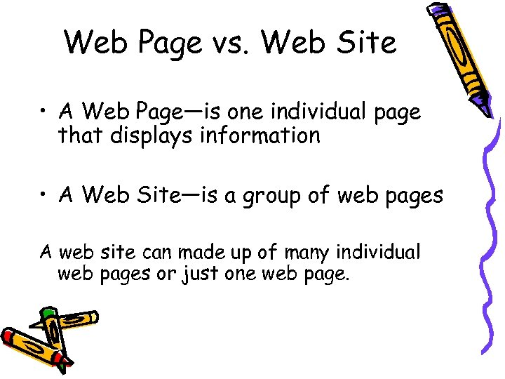 Web Page vs. Web Site • A Web Page—is one individual page that displays