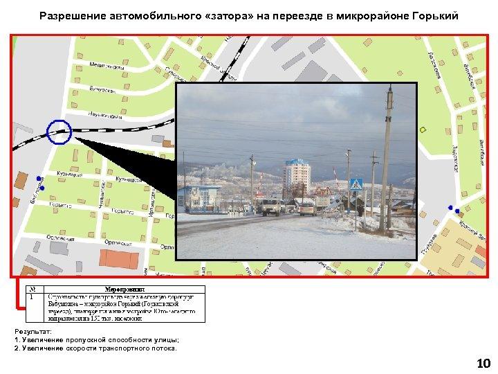 Разрешение автомобильного «затора» на переезде в микрорайоне Горький Результат: 1. Увеличение пропускной способности улицы;