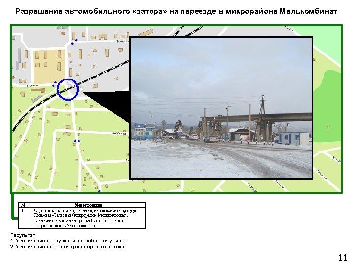 Разрешение автомобильного «затора» на переезде в микрорайоне Мелькомбинат Результат: 1. Увеличение пропускной способности улицы;