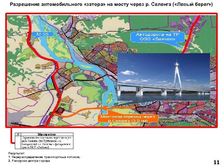 Разрешение автомобильного «затора» на мосту через р. Селенга ( «Левый берег» ) Результат: 1.
