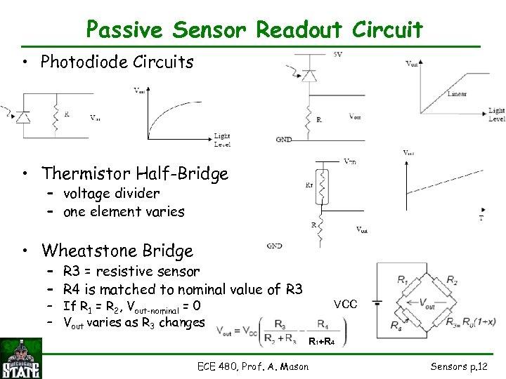 Passive Sensor Readout Circuit • Photodiode Circuits • Thermistor Half-Bridge – voltage divider –