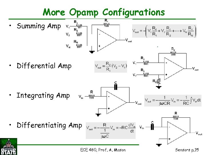 More Opamp Configurations • Summing Amp • Differential Amp • Integrating Amp • Differentiating