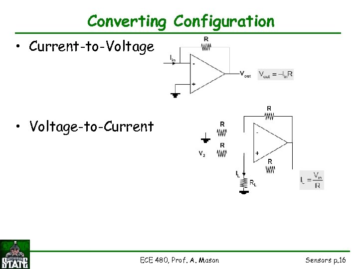 Converting Configuration • Current-to-Voltage • Voltage-to-Current ECE 480, Prof. A. Mason Sensors p. 16