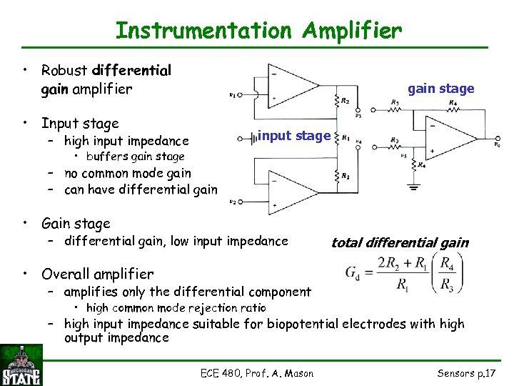 Instrumentation Amplifier • Robust differential gain amplifier gain stage • Input stage input stage