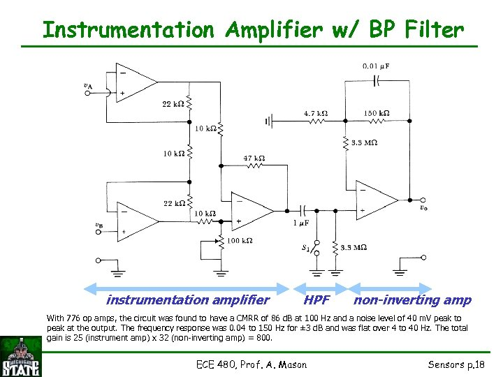 Instrumentation Amplifier w/ BP Filter instrumentation amplifier HPF non-inverting amp With 776 op amps,