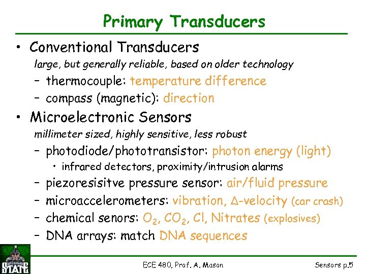 Primary Transducers • Conventional Transducers large, but generally reliable, based on older technology –