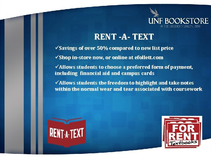 RENT -A- TEXT Savings of over 50% compared to new list price Shop in-store