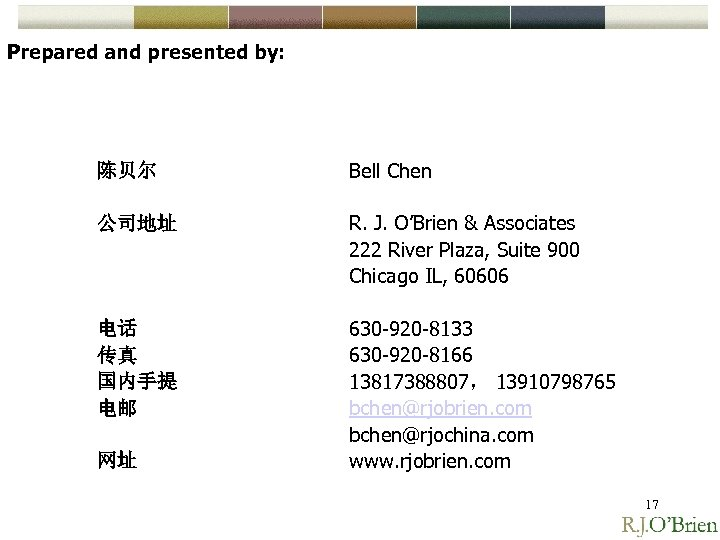 Prepared and presented by: 陈贝尔 Bell Chen 公司地址 R. J. O'Brien & Associates 222