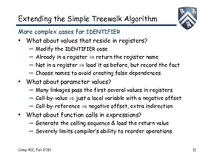 Extending the Simple Treewalk Algorithm More complex cases for IDENTIFIER • What about values