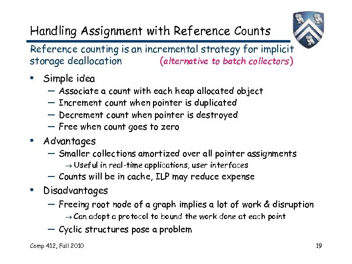 Handling Assignment with Reference Counts Reference counting is an incremental strategy for implicit storage