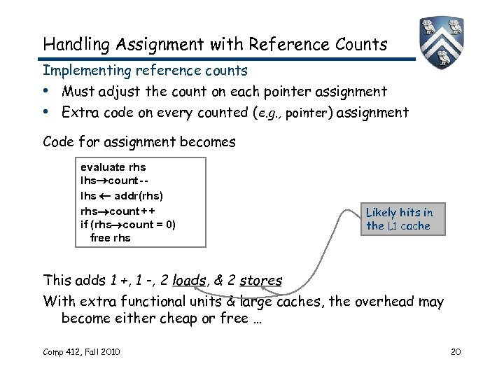 Handling Assignment with Reference Counts Implementing reference counts • Must adjust the count on