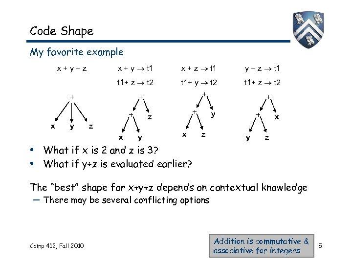 Code Shape My favorite example x + y t 1 x + z t