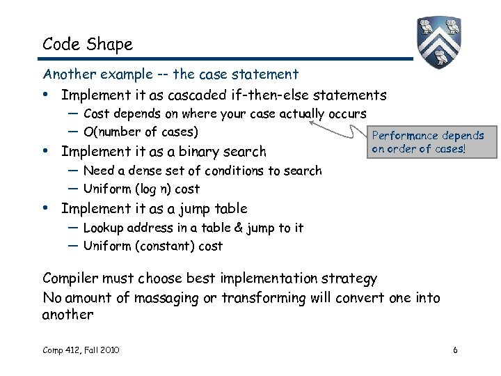 Code Shape Another example -- the case statement • Implement it as cascaded if-then-else