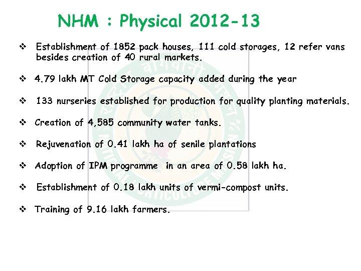 NHM : Physical 2012 -13 v Establishment of 1852 pack houses, 111 cold storages,