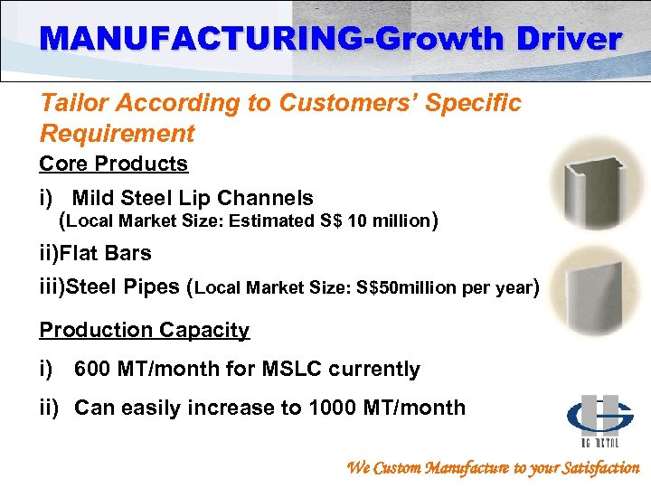 MANUFACTURING-Growth Driver Tailor According to Customers' Specific Requirement Core Products i) Mild Steel Lip