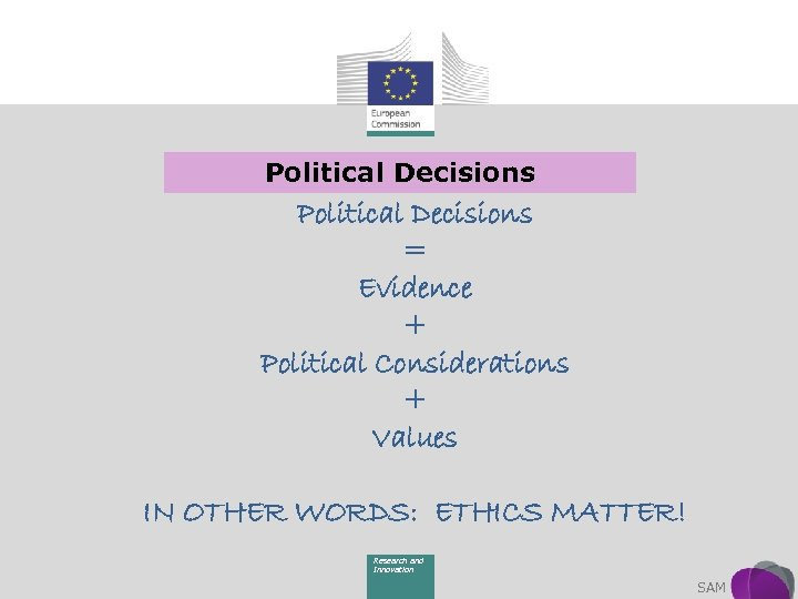 Political Decisions = Evidence + Political Considerations + Values IN OTHER WORDS: ETHICS MATTER!