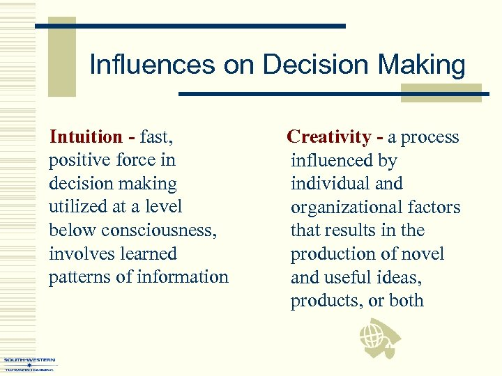 Influences on Decision Making Intuition - fast, positive force in decision making utilized at