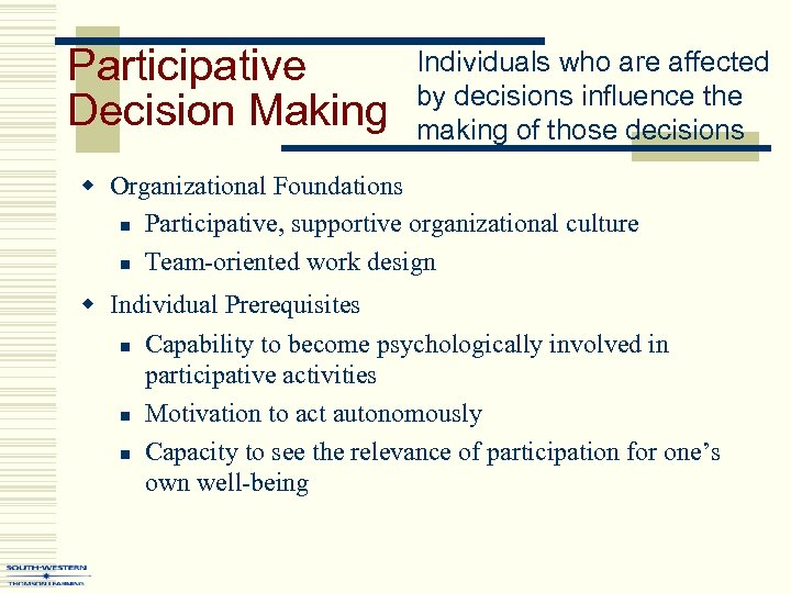 Participative Decision Making Individuals who are affected by decisions influence the making of those
