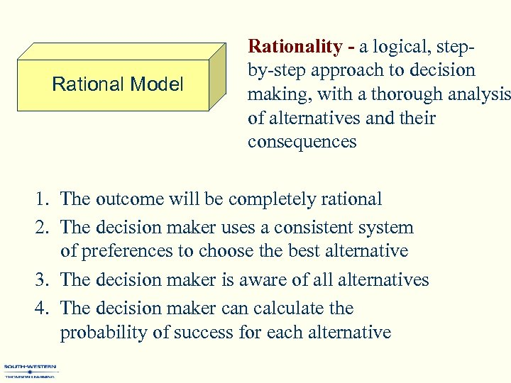 Rational Model Rationality - a logical, stepby-step approach to decision making, with a thorough