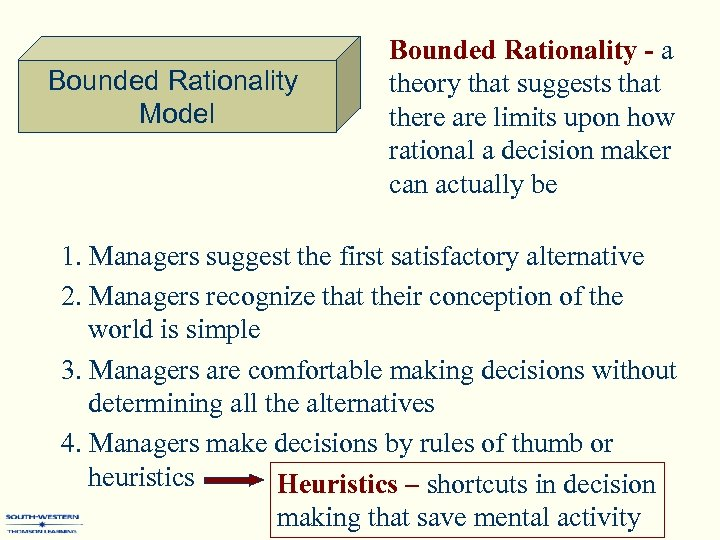 Bounded Rationality Model Bounded Rationality - a theory that suggests that there are limits