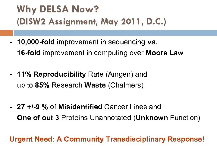 Why DELSA Now? (DISW 2 Assignment, May 2011, D. C. ) - 10, 000