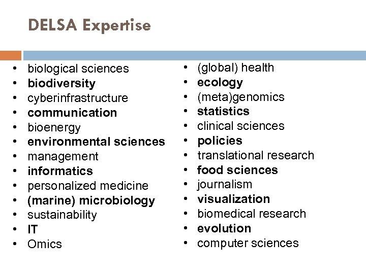 DELSA Expertise • biological sciences • biodiversity • cyberinfrastructure • communication • bioenergy •