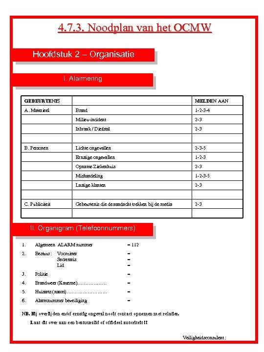 4. 7. 3. Noodplan van het OCMW Hoofdstuk 2 – Organisatie I. Alarmering GEBEURTENIS