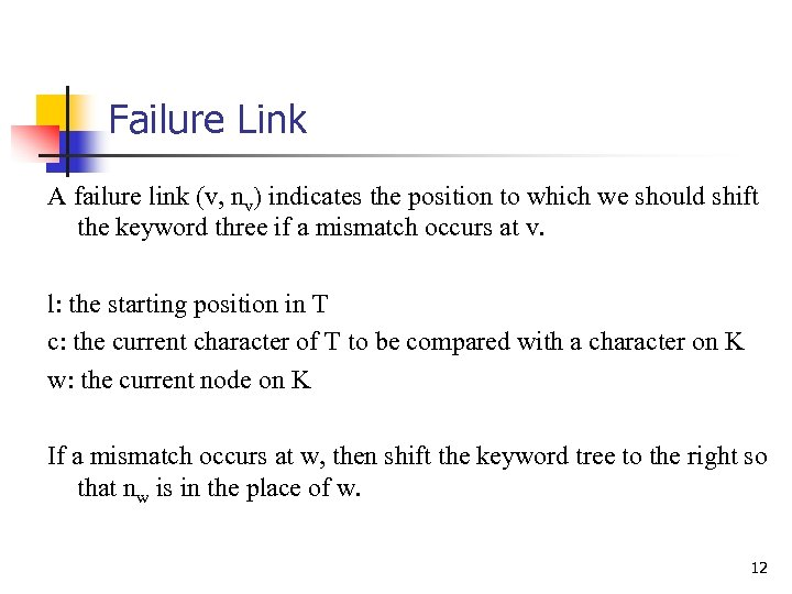 Failure Link A failure link (v, nv) indicates the position to which we should