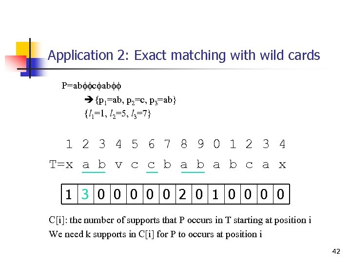 Application 2: Exact matching with wild cards P=abffcfabff {p 1=ab, p 2=c, p 3=ab}