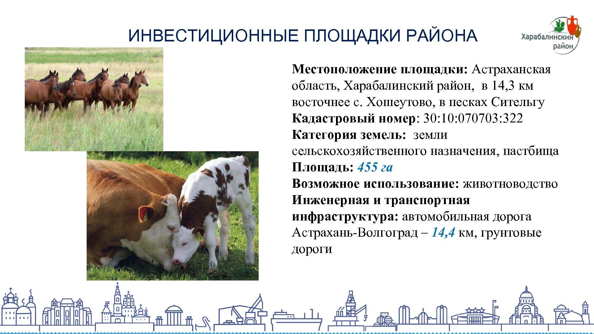 ИНВЕСТИЦИОННЫЕ ПЛОЩАДКИ РАЙОНА Местоположение площадки: Астраханская область, Харабалинский район, в 14, 3 км восточнее