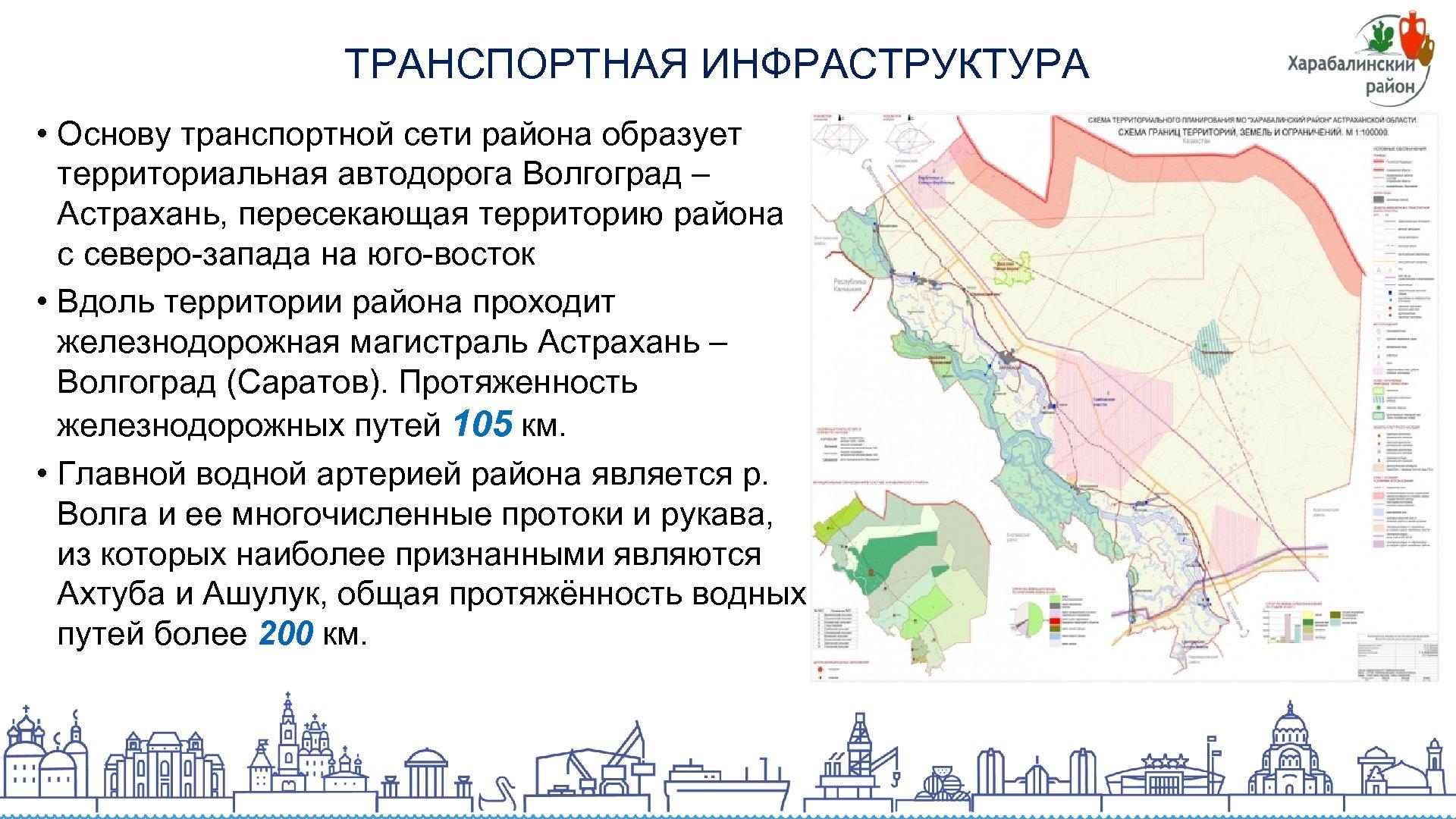 ТРАНСПОРТНАЯ ИНФРАСТРУКТУРА • Основу транспортной сети района образует территориальная автодорога Волгоград – Астрахань, пересекающая