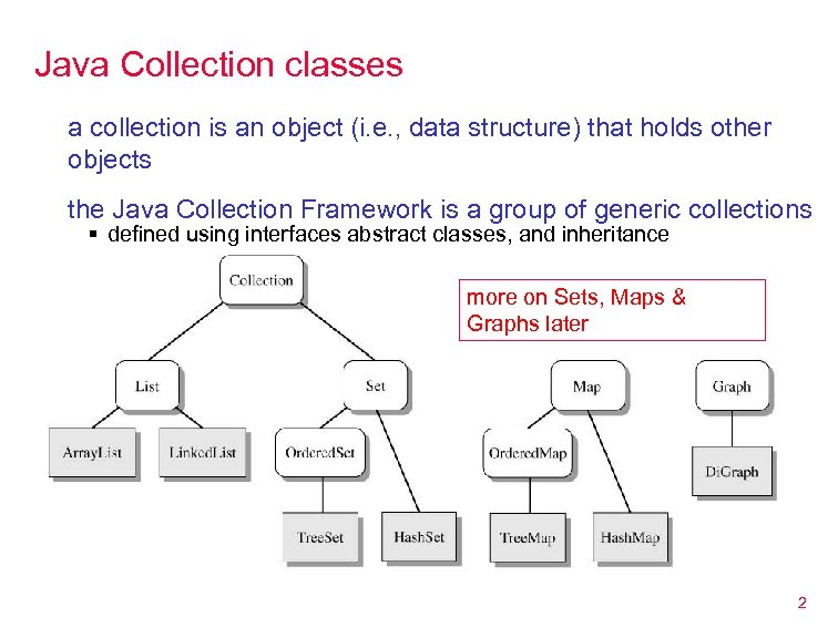 Java Collection classes a collection is an object (i. e. , data structure) that