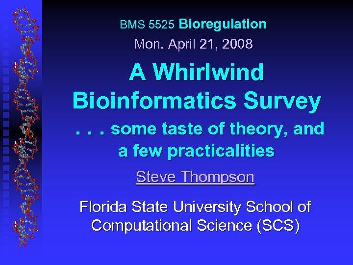 BMS 5525 Bioregulation Mon. April 21, 2008 A Whirlwind Bioinformatics Survey. . . some