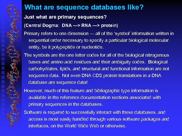 What are sequence databases like? Just what are primary sequences? (Central Dogma: DNA —>