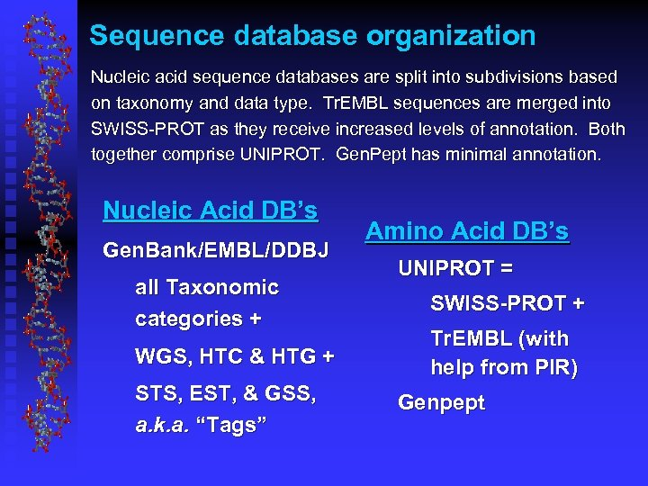 Sequence database organization Nucleic acid sequence databases are split into subdivisions based on taxonomy