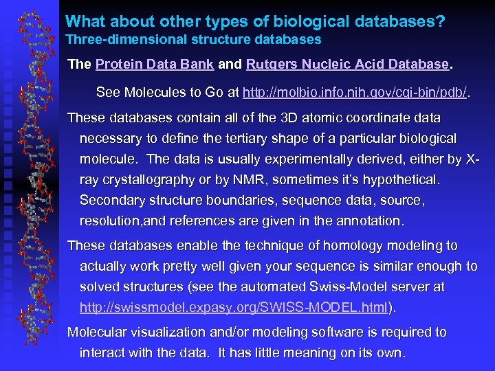 What about other types of biological databases? Three-dimensional structure databases The Protein Data Bank