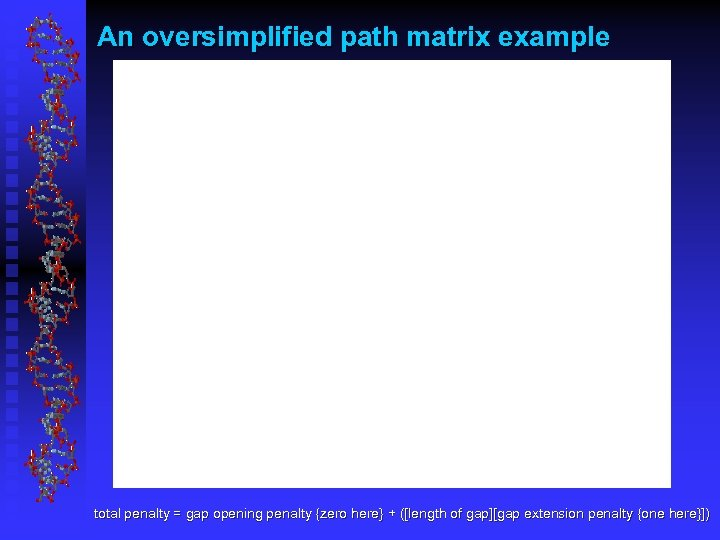 An oversimplified path matrix example total penalty = gap opening penalty {zero here} +