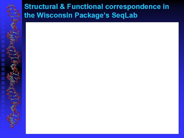 Structural & Functional correspondence in the Wisconsin Package's Seq. Lab