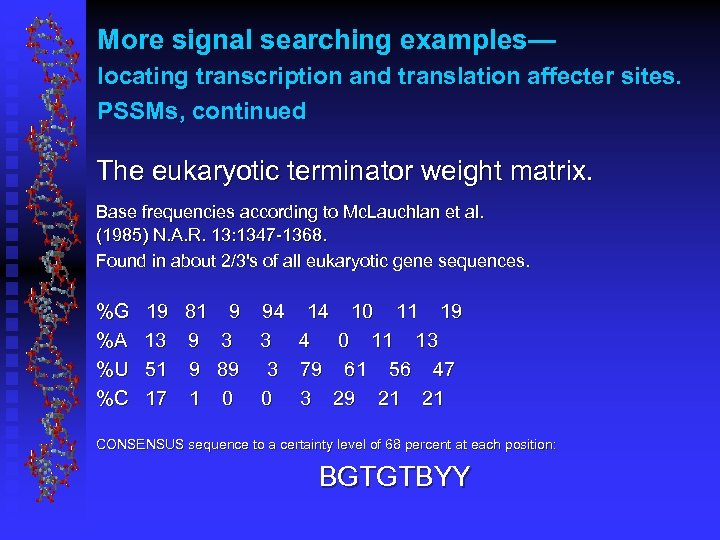 More signal searching examples— locating transcription and translation affecter sites. PSSMs, continued The eukaryotic