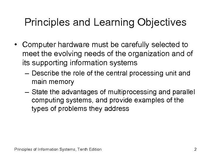 Principles of Information Systems Tenth Edition Chapter 3