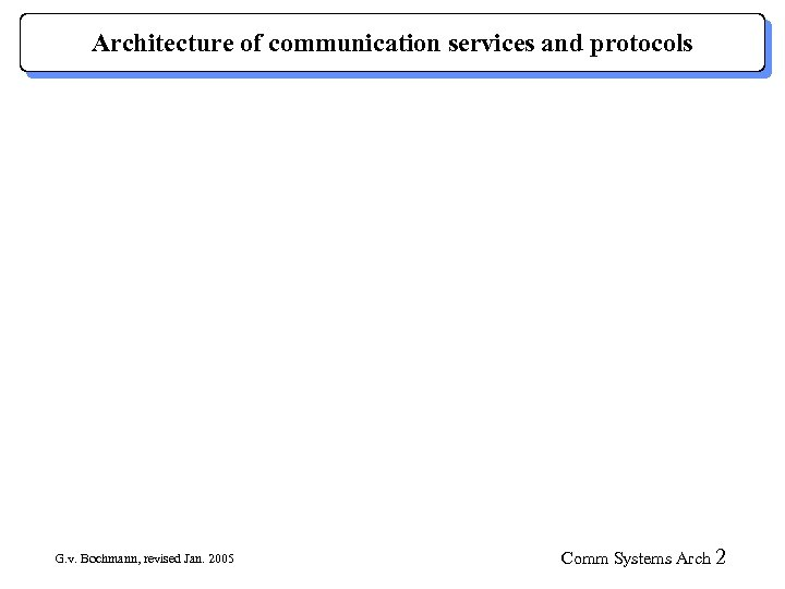 Architecture of communication services and protocols G. v. Bochmann, revised Jan. 2005 Comm Systems