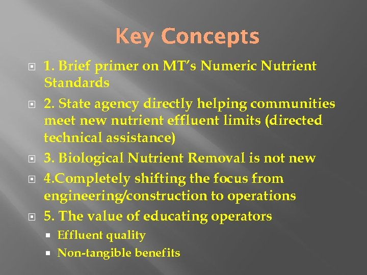 Key Concepts 1. Brief primer on MT's Numeric Nutrient Standards 2. State agency directly