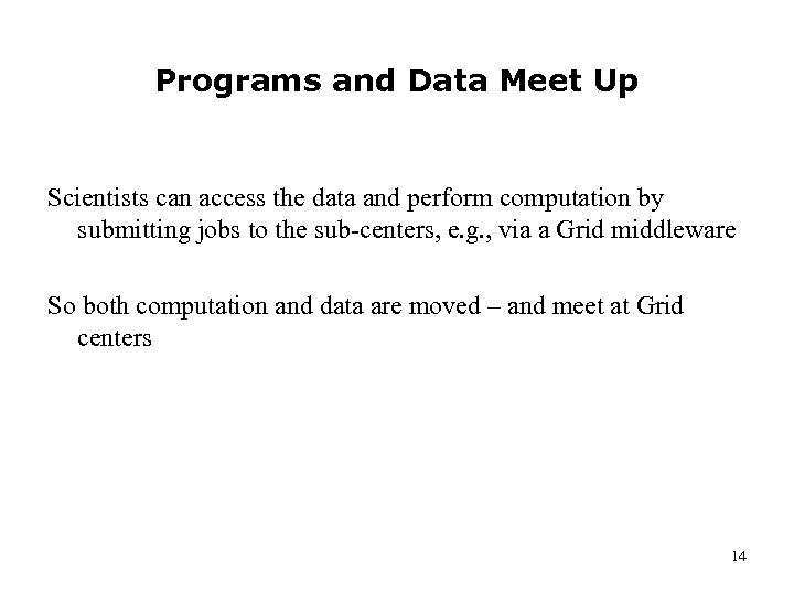 Programs and Data Meet Up Scientists can access the data and perform computation by