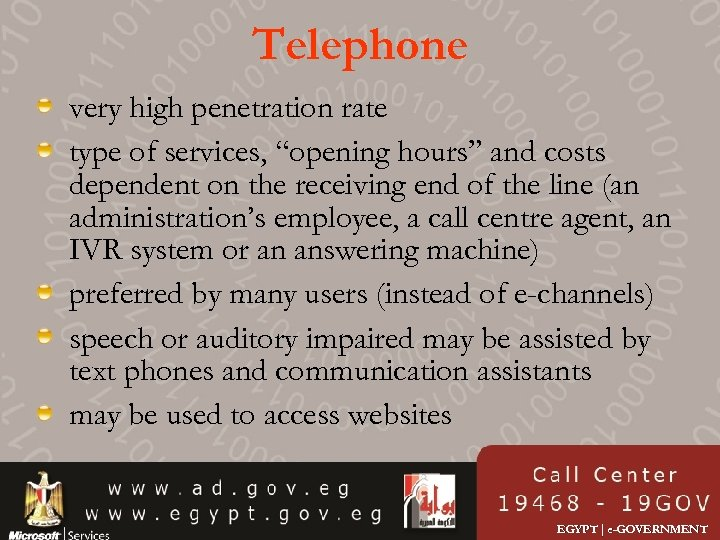 "Telephone very high penetration rate type of services, ""opening hours"" and costs dependent on"