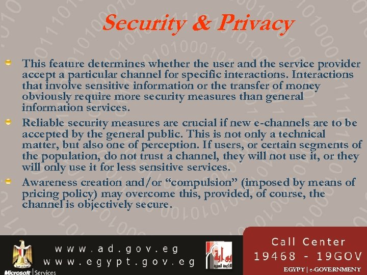 Security & Privacy This feature determines whether the user and the service provider accept