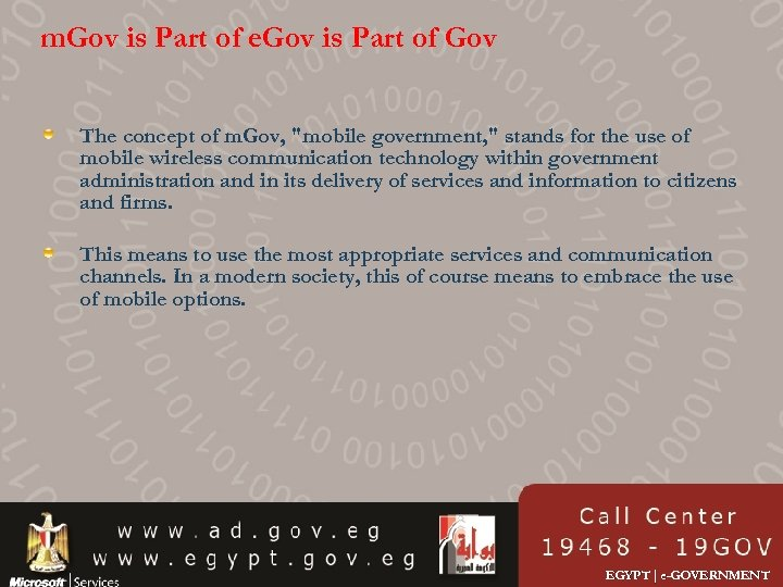 m. Gov is Part of e. Gov is Part of Gov The concept of