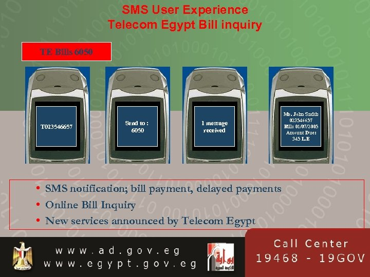 SMS User Experience Telecom Egypt Bill inquiry TE Bills 6050 T 023546657 Send to