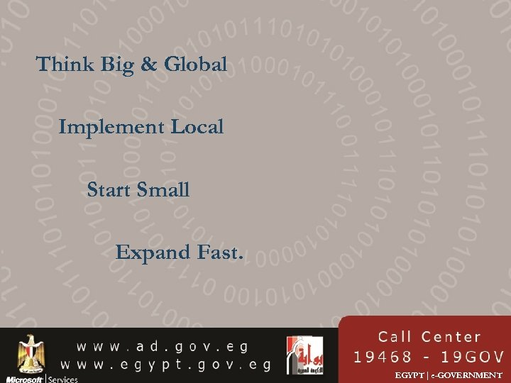 Think Big & Global Implement Local Start Small Expand Fast. EGYPT | e-GOVERNMENT