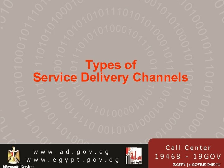 Types of Service Delivery Channels EGYPT | e-GOVERNMENT